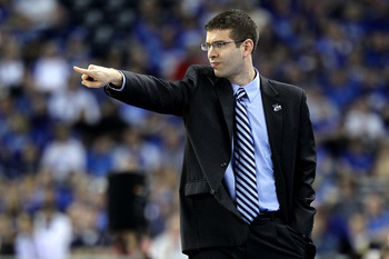 HOUSTON, TX - APRIL 02:  Head coach Brad Stevens of the Butler Bulldogs gestures from the sidelines against the Virginia Commonwealth Rams during the National Semifinal game of the 2011 NCAA Division I Men's Basketball Championship at Reliant Stadium on A