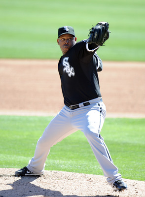PHOENIX, AZ - FEBRUARY 28:  Tony Pena #57 of the Chicago White Sox pitches against the Los Angeles Dodgers during spring training at Camelback Ranch on February 28, 2011 in Phoenix, Arizona.  (Photo by Harry How/Getty Images)