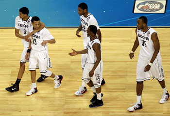 HOUSTON, TX - APRIL 02:  Jeremy Lamb #3, Shabazz Napier #13, Roscoe Smith #22, Kemba Walker #15 and Charles Okwandu #35 of the Connecticut Huskies during the National Semifinal game of the 2011 NCAA Division I Men's Basketball Championship at Reliant Stad
