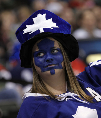 ST PAUL, MN - MARCH 22: A Toronto Maple Leafs fan celebrates the Leafs 3-0 shut out over the Minnesota Wild at the Xcel Energy Center on March 22, 2011 in St Paul, Minnesota. (Photo by Bruce Bennett/Getty Images)