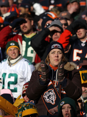 CHICAGO, IL - JANUARY 23:  A general view of the fans in the NFC Championship Game between the Green Bay Packers and the Chicago Bears at Soldier Field on January 23, 2011 in Chicago, Illinois.  (Photo by Doug Pensinger/Getty Images)