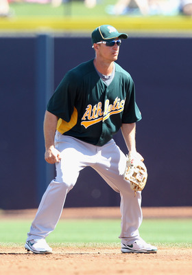 PEORIA, AZ - MARCH 12:  Infielder Mark Ellis #!4 of the Oakland Athletics during the spring training game against the Seattle Mariners at Peoria Stadium on March 12, 2011 in Peoria, Arizona.  (Photo by Christian Petersen/Getty Images)
