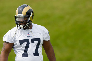 EARTH CITY, MO - MAY 2: Jason Smith #77 of the St. Louis Rams looks on during a mini camp on May 2, 2009 at the Russell Training Center in Earth City, Missouri.  (Dilip Vishwanat/Getty Images)
