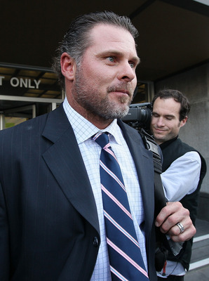SAN FRANCISCO, CA - MARCH 29:  Major League Baseball player Jason Giambi leaves federal court after testifying during Barry Bonds' perjury trial on March 29, 2011 in San Francisco, California. Barry Bonds' perjury trial accusing him of lying to a grand ju