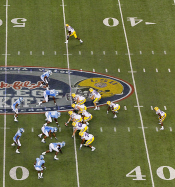 ATLANTA - SEPTEMBER 04:  The offense of the LSU Tigers faces the defense of the North Carolina Tar Heels during the Chick-fil-A Kickoff Game at Georgia Dome on September 4, 2010 in Atlanta, Georgia.  (Photo by Kevin C. Cox/Getty Images)