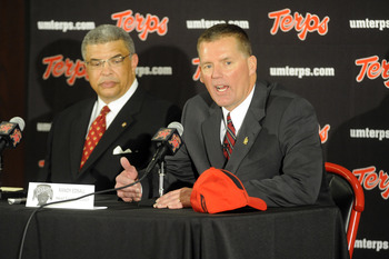 COLLEGE PARK, MD - JANUARY 3:  Randy Edsall speaks as he is introduced as the University of Maryland Terps new head football coach as Athletic Director Kevin Anderson (L) of the University of Maryland looks on during a press conference on January 3, 2011