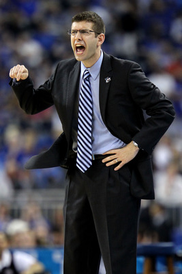 HOUSTON, TX - APRIL 02:  Head coach Brad Stevens of the Butler Bulldogs shouts from the sidelines against the Virginia Commonwealth Rams during the National Semifinal game of the 2011 NCAA Division I Men's Basketball Championship at Reliant Stadium on Apr