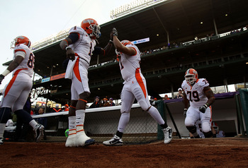 CHICAGO - NOVEMBER 20: Members of the Illinois Fighting Illini enter the field for warm-ups before a game against the Northwestern Wildcats played at Wrigley Field on November 20, 2010 in Chicago, Illinois. (Photo by Jonathan Daniel/Getty Images)