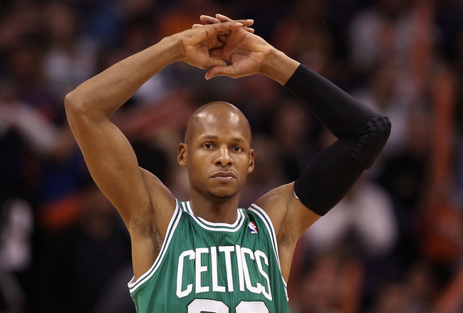 PHOENIX, AZ - JANUARY 28:  Ray Allen #20 of the Boston Celtics during the NBA game against the Phoenix Suns at US Airways Center on January 28, 2011 in Phoenix, Arizona.  The Suns defeated the Celtics 88-71.  NOTE TO USER: User expressly acknowledges and