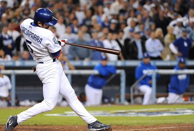 LOS ANGELES, CA - OCTOBER 13:  Nomar Garciaparra#5 of the Los Angeles Dodgers at bat against the Philadelphia Phillies in Game Four of the National League Championship Series during the 2008 MLB playoffs on October 13, 2008 at Dodger Stadium in Los Angele