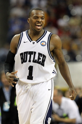 HOUSTON, TX - APRIL 02:  Shelvin Mack #1 of the Butler Bulldogs reacts against the Virginia Commonwealth Rams during the National Semifinal game of the 2011 NCAA Division I Men's Basketball Championship at Reliant Stadium on April 2, 2011 in Houston, Texa