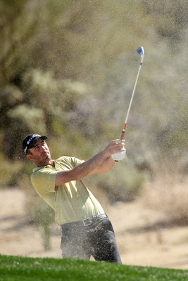 MARANA, AZ - FEBRUARY 25:  Geoff Ogilvy of Australia hits his second shot on the second hole during the third round of the Accenture Match Play Championship at the Ritz-Carlton Golf Club on February 25, 2011 in Marana, Arizona.  (Photo by Andy Lyons/Getty