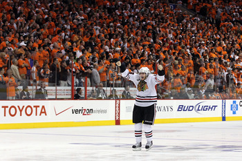 PHILADELPHIA - JUNE 09:  Patrick Kane #88 of the Chicago Blackhawks celebrates after scoring the game-winning goal in overtime to defeat the Philadelphia Flyers 4-3 and win the Stanley Cup in Game Six of the 2010 NHL Stanley Cup Final at the Wachovia Cent