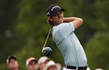 HUMBLE, TX - APRIL 03:  Aaron Baddeley of Australia hits his drive on the 11th hole on during the final round of the Shell Houston Open at Redstone Golf Club on April 3, 2011 in Humble, Texas.  (Photo by Michael Cohen/Getty Images)
