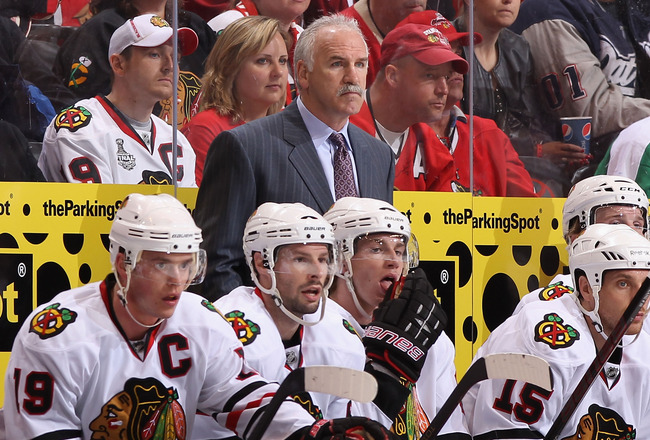 GLENDALE, AZ - MARCH 20:  Head coach Joel Quenneville of the Chicago Blackhawks  during the NHL game against the Phoenix Coyotes at Jobing.com Arena on March 20, 2011 in Glendale, Arizona. The Blackhawks defeated the Coyotes 2-1.  (Photo by Christian Pete