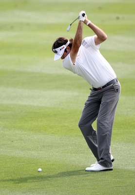 ORLANDO, FL - MARCH 27:  Bubba Watson plays a shot on the 8th hole during the final round of the Arnold Palmer Invitational presented by MasterCard at the Bay Hill Club and Lodge on March 27, 2011 in Orlando, Florida.  (Photo by Sam Greenwood/Getty Images