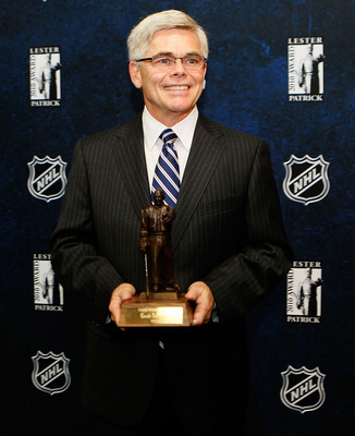 BOSTON - OCTOBER 27:  David Andrews, president of the American Hockey League,  stands with his 2010 Lester Patrick Trophy on hand for an afternoon media availability at TD Garden on October 27, 2010 in Boston, Massachusetts. NOTE TO USER: User expressly a