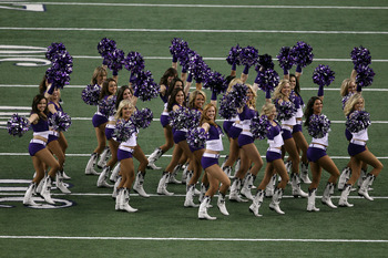 ARLINGTON, TX - FEBRUARY 06:  TCU cheerleaders perform before the Green Bay Packers play against the Pittsburgh Steelers in Super Bowl XLV at Cowboys Stadium on February 6, 2011 in Arlington, Texas.  (Photo by Jonathan Daniel/Getty Images)