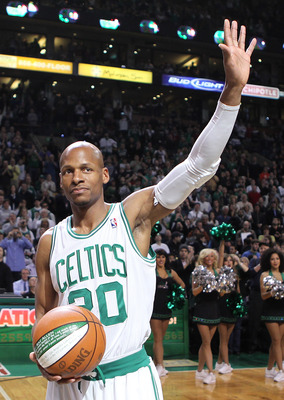 BOSTON - FEBRUARY 13:  Ray Allen #20 of the Boston Celtics is recognized for setting the NBA three-point record before a game against the Miami Heat at TD Garden on February 13, 2011 in Boston, Massachusetts. NOTE TO USER: User expressly acknowledges and