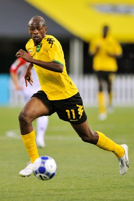 COLUMBUS, OH - JULY 07:  Luton Shelton #11 of Jamaica controls the ball against Costa Rica in a CONCACAF Gold Cup match at Crew Stadium on July 7, 2009 in Columbus, Ohio.  (Photo by Jamie Sabau/Getty Images)