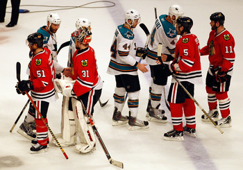 CHICAGO - MAY 23:  The Chicago Blackhawks shake hands with San Jose Sharks players after the Blackhawks 4-2 victory to advance to the Stanley Cup after winning Game Four of the Western Conference Finals during the 2010 NHL Stanley Cup Playoffs at the Unit