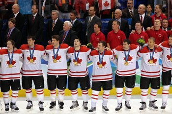VANCOUVER, BC - FEBRUARY 28:  (L-R) Duncan Smith #2, Shea Weber #6, Brent Seabrook #7, Drew Doughty #8, Brenden Morrow #10, Patrick Marleau #11, Jarome Iginla #12 and Dany Heatley #15 of Canada stand together during the playing of the Canadian National An