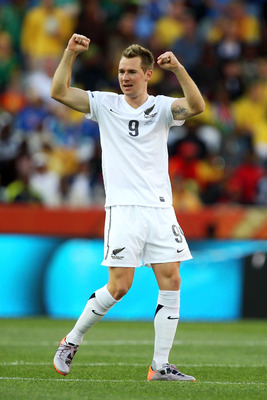 NELSPRUIT, SOUTH AFRICA - JUNE 20:  Shane Smeltz of New Zealand celebrates scoring the opening goal during the 2010 FIFA World Cup South Africa Group F match between Italy and New Zealand at the Mbombela Stadium on June 20, 2010 in Nelspruit, South Africa