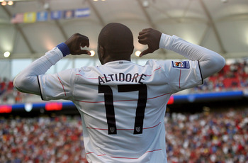 SANDY, UT - SEPTEMBER 05:  Jozy Altidore #17 of the United States celebrates scoring a goal in the second half that was later disallowed for a foul  during the FIFA 2010 World Cup Qualifier match between the United States and El Salvador at Rio Tinto Stad
