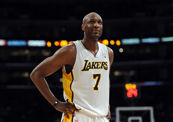LOS ANGELES, CA - MARCH 20:  Lamar Odom #7 of the Los Angeles Lakers reacts as his team is called for a foul during the game against the Portland Trail Blazers at the Staples Center on March 20, 2011 in Los Angeles, California.  NOTE TO USER: User express