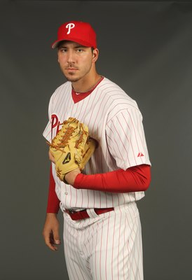 CLEARWATER, FL - FEBRUARY 24: Phillippe Aumont #75 of the Philadelphia Phillies poses for a photo during Spring Training Media Photo Day at Bright House Networks Field on February 24, 2010 in Clearwater, Florida.  (Photo by Nick Laham/Getty Images)
