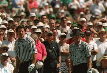 14 Apr 1996 :  Nick Faldo of England and greg Norman of Australia on the third tee during the final tound of the 1996 US Masters Golf Championship at the Augusta National Golf Club in Augusta, Georgia. Faldo went on to win the event from Greg Norman. Mand