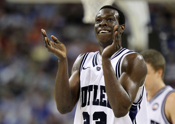 HOUSTON, TX - APRIL 02:  Khyle Marshall #23 of the Butler Bulldogs reacts in the first half while taking on Virginia Commonwealth Rams during the National Semifinal game of the 2011 NCAA Division I Men's Basketball Championship at Reliant Stadium on April