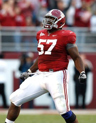 TUSCALOOSA, AL - OCTOBER 24:  Marcell Dareus #57 of the Alabama Crimson Tide against the Tennessee Volunteers at Bryant-Denny Stadium on October 24, 2009 in Tuscaloosa, Alabama.  (Photo by Kevin C. Cox/Getty Images)