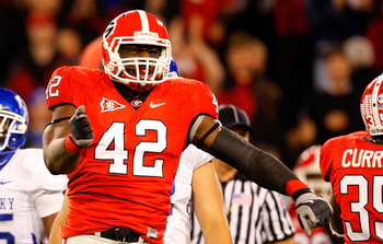 ATHENS, GA - NOVEMBER 21:  Justin Houston #42 of the Georgia Bulldogs celebrates a sack against the Kentucky Wildcats at Sanford Stadium on November 21, 2009 in Athens, Georgia.  (Photo by Kevin C. Cox/Getty Images)