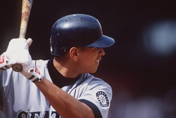 25 Sep 1996:  Short stop Alex Rodriguez of the Seattle Mariners awaits a pitch during the Mariners 11-2 win over the California Angels at Anaheim Stadium in Anaheim, California. Mandatory Credit: Stephen Dunn/ALLSPORT