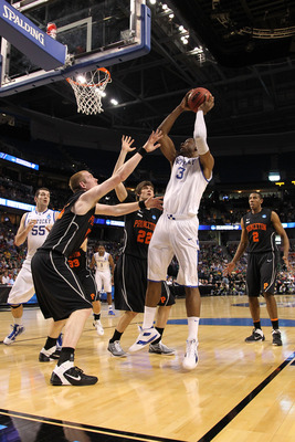 TAMPA, FL - MARCH 17:  Terrence Jones #3 of the Kentucky Wildcats attempts a shot in the first half against the Princeton Tigers during the second round of the 2011 NCAA men's basketball tournament at St. Pete Times Forum on March 17, 2011 in Tampa, Flori