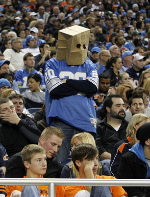 DETROIT - DECEMBER 05: A Detroit Lions' fan shows his fustration during the game between the Detroit Lions and the Chicago Bears at Ford Field on December 5, 2010 in Detroit, Michigan. The Bears defeated the Lions 24-20.  (Photo by Leon Halip/Getty Images