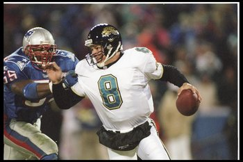 12 Jan 1997:   Defensive back Willie McGinest #55 of the New England Patriots rushes quarterback Mark Brunell #8 of the Jacksonville Jaguars during the AFC Championship game played at the Foxboro Stadium in Foxboro, Massachusetts.  The  Patriots won,  20-