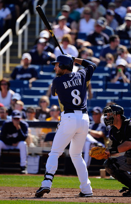 PHOENIX, AZ - MARCH 10:  Ryan Braun #8 of the Milwaukee Brewers swings the bat against the Colorado Rockies during the spring training baseball game at Maryvale Baseball Park on March 10, 2011 in Phoenix, Arizona.  (Photo by Kevork Djansezian/Getty Images