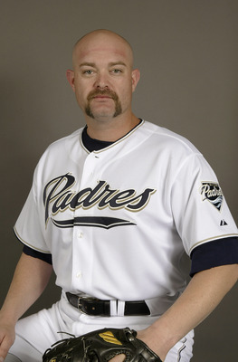 PEORIA, AZ - FEBRUARY 28:  Pitcher Rod Beck #45 of the San Diego Padres poses for a picture during media day at Peoria Sports Complex on February 28, 2004 in Peoria, Arizona. (Photo by Stephen Dunn/Getty Images)