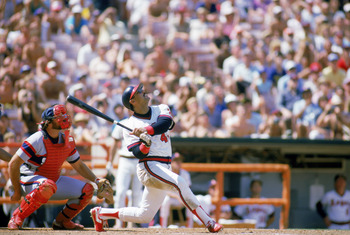 ANAHEIM, CA - 1985:  Reggie Jackson #44 of the California Angels watches his pop fly hit during a 1985 MLB game against the Chicago White Sox at Angel Stadium in Anaheim, California. (Photo by Getty Images)