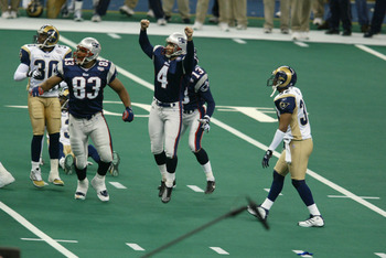 03 Feb 2002:   Adam Vinatieri #4 of the St.Louis Rams breaks into celebration after kicking the game winning field goal against the St.Louis Rams during Superbowl XXXVI at the Superdome in New Orleans, Louisiana.  The Patriots defeated the Rams 20-17. DIG