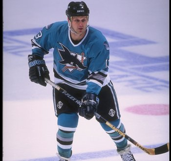 17 Apr 1995: Center Jamie Baker of the San Jose Sharks looks on during a game against the Anaheim Mighty Ducks at Arrowhead Pond in Anaheim, California. The Ducks won the game, 3-0.