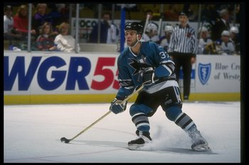 21 Nov 1993: Rightwinger Rob Gaudreau of the San Jose Sharks moves down the ice during a game against the Buffalo Sabres at Memorial Auditorium in Buffalo, New York.