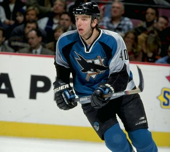 5 Jan 1999:  Mike Rathje #40 of the San Jose Sharks in action during the game against the New Jersey Devils at the Continental Airlines Arena in East Rutherford, New Jersey. The Devils tied the Sharks 3-3. Mandatory Credit: Al Bello  /Allsport