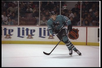 19 Dec 1995: Rightwinger Andrei Nazarov of the San Jose Sharks moves down the ice during a game against the Anaheim Mighty Ducks at Arrowhead Pond in Anaheim, California. The Sharks won the game, 7-4.