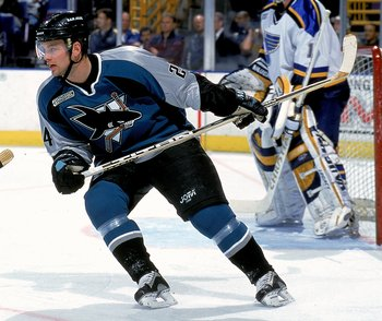 4 Dec 1999: Niklas Sundstrom #24 of the San Jose Sharks skates on the ice during a game against the St. Louis Blues at the Kiel Center in St. Louis, Missouri. The Blues defeated the Sharks 4-2. Mandatory Credit: Elsa Hasch  /Allsport
