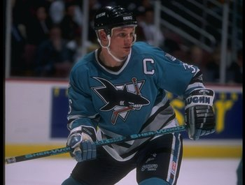17 Apr 1995: Leftwinger Jeff Ogders of the San Jose Sharks looks on during a game against the Anaheim Mighty Ducks at Arrowhead Pond in Anaheim, California. The Ducks won the game, 3-0.