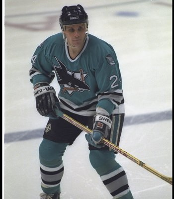12 Jan 1994: Rightwinger Sergei Makarov of the San Jose Sharks looks on during a game against the Anaheim Mighty Ducks at Arrowhead Pond in Anaheim, California.