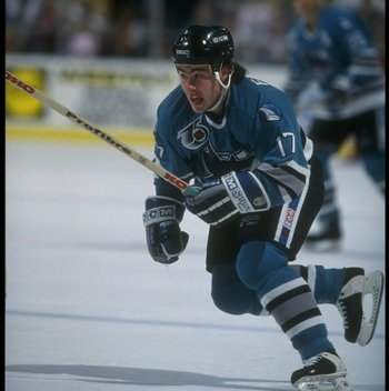 25 Oct 1991: Rightwinger Pat Falloon of the San Jose Sharks moves down the ice during a game against the Buffalo Sabres at Memorial Auditorium in Buffalo, New York.